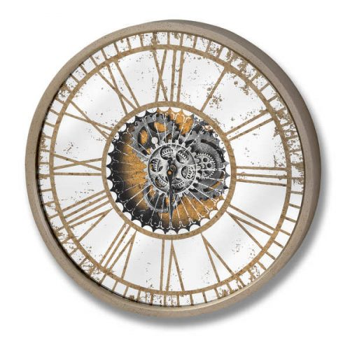 Mirrored Round Clock with Moving Mechanism - Cosy Home Interiors