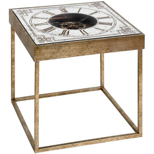 Mirrored Square Framed Clock Table With Moving Mechanism - Cosy Home Interiors