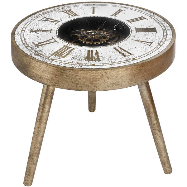 Mirrored Round Framed Clock Table With Moving Mechanism - Cosy Home Interiors