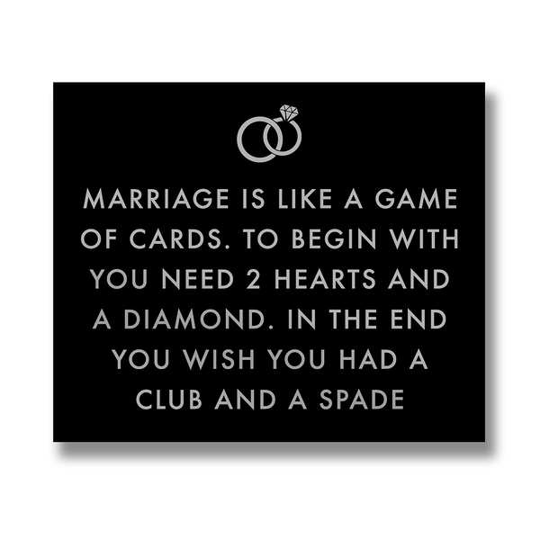 Marriage Is Like Metalic Detail Plaque - Cosy Home Interiors