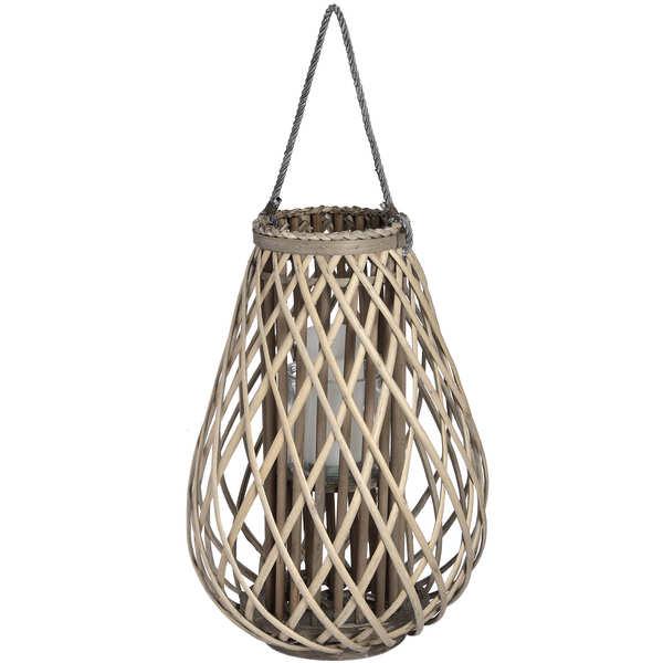 Large Wicker Bulbous Lantern - Cosy Home Interiors