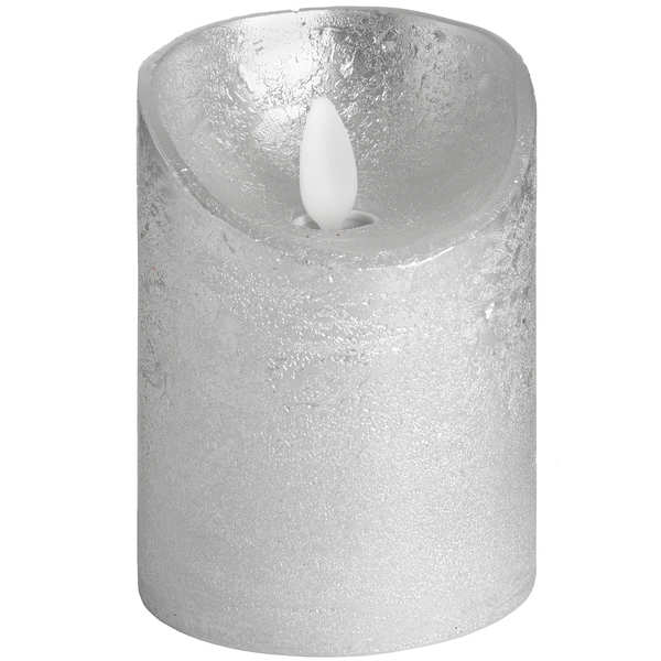 Luxe Collection 3 x 4 Silver Flickering Flame LED Wax Candle - Cosy Home Interiors