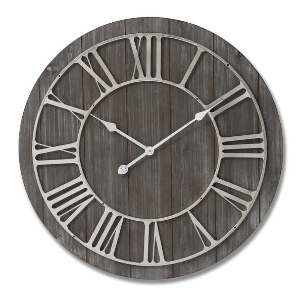 Wooden Clock With Contrasting Nickel Detail - Cosy Home Interiors