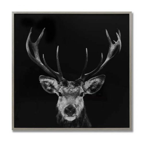 Dark Stag Glass Image with Silver Frame - Cosy Home Interiors