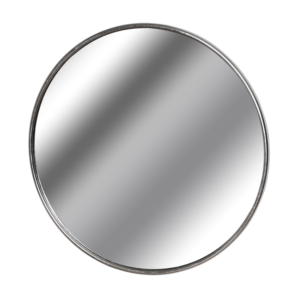 Silver Foil Large Circular Metal Wall Mirror - Cosy Home Interiors