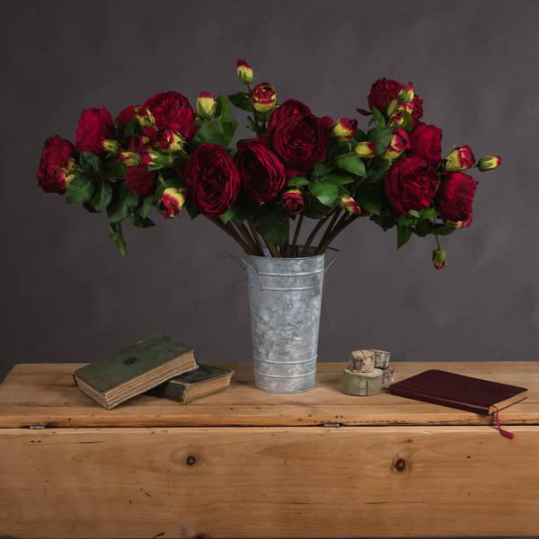 Deep Red Wedding Peony Rose Spray - Cosy Home Interiors