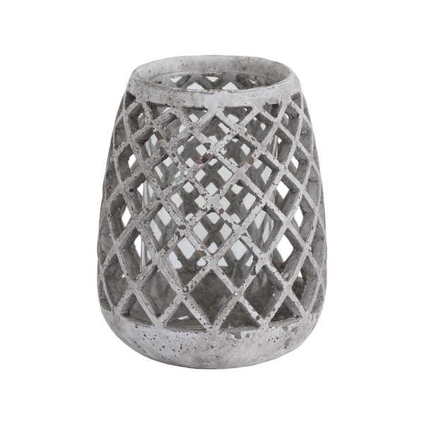 Large Conical Ceramic Lattice Hurricane Lantern - Cosy Home Interiors