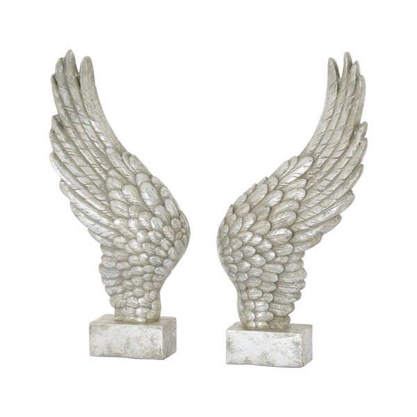 Large Freestanding Antique Silver Angel Wings Ornament - Cosy Home Interiors