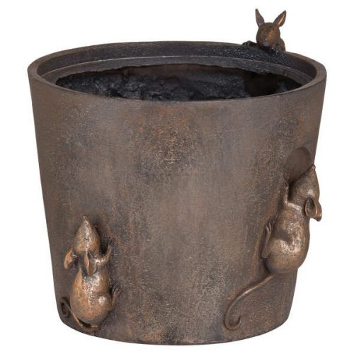 Flower Pot With Mice Detail - Cosy Home Interiors