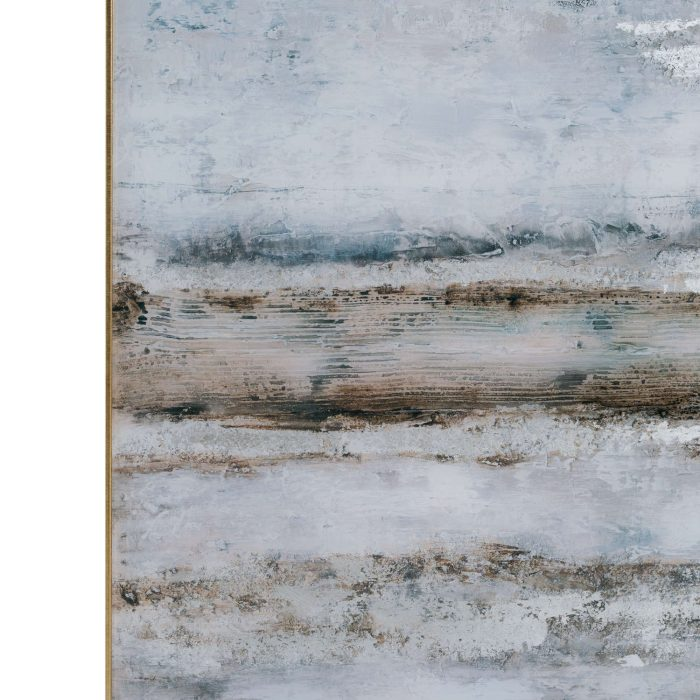 Large Abstract Grey Glass Image With Silver Frame - Cosy Home Interiors