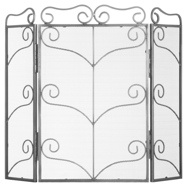 Heavy Large Antique Silver Fire Screen - Cosy Home Interiors