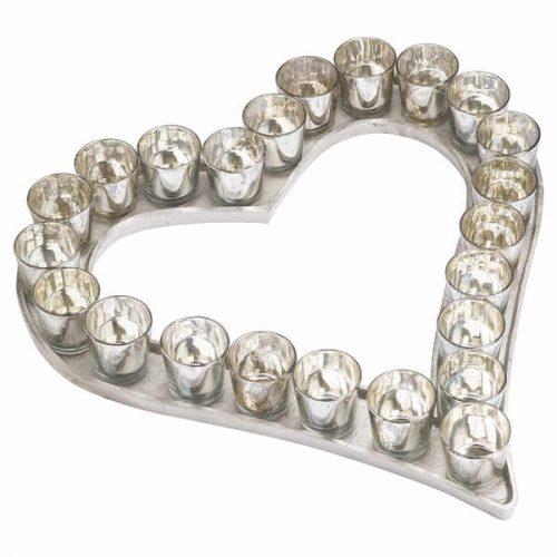Large Cast Aluminium Heart Votive Tray With Mercury Glass - Cosy Home Interiors
