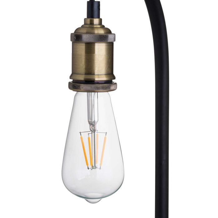 Industrial Black And Brass Floor Lamp Inc Bulb - Cosy Home Interiors