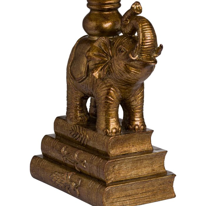 Antique Gold Elephant Table Lamp With Emerald Green Shade - Cosy Home Interiors