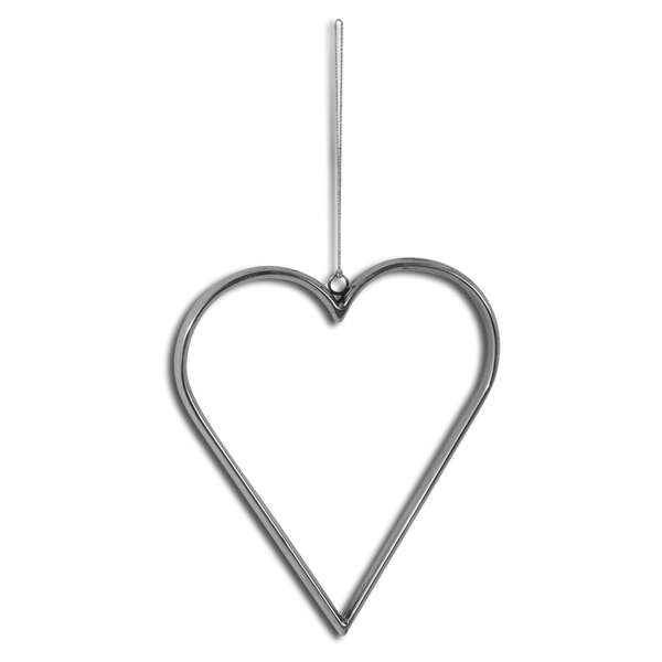 Large Silver Hanging Heart - Cosy Home Interiors