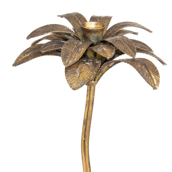 Antique Bronze Large Palm Tree Candle Holder - Cosy Home Interiors