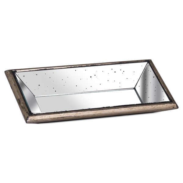 Astor Distressed Mirrored Display Tray With Wooden Detailing - Cosy Home Interiors