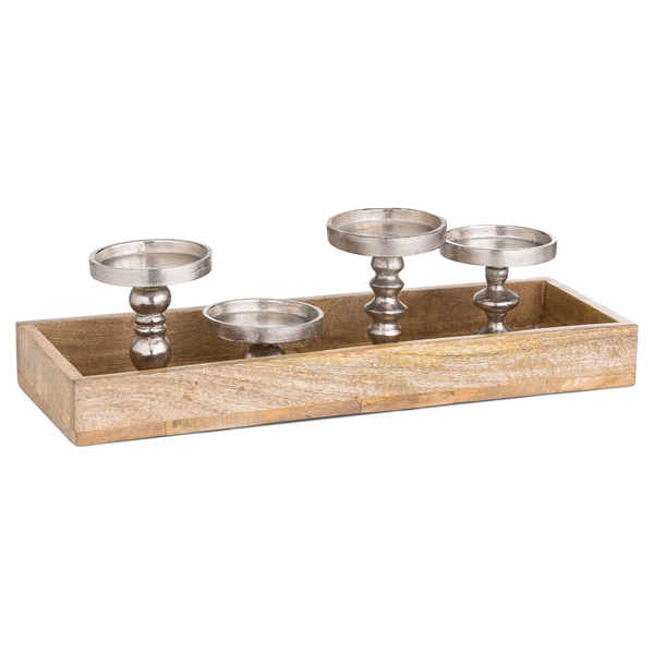 Hardwood Display Tray With Four Candle Holders - Cosy Home Interiors