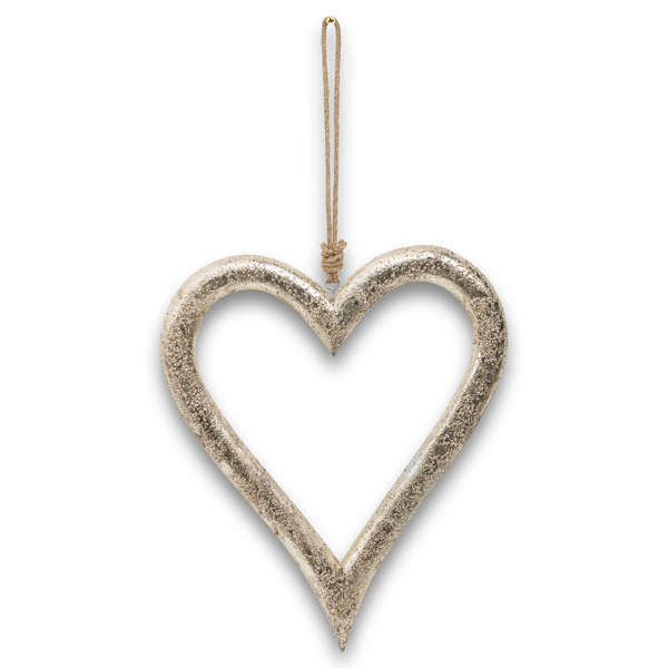 Silver Wooden Heart Hanging Decoration - Cosy Home Interiors