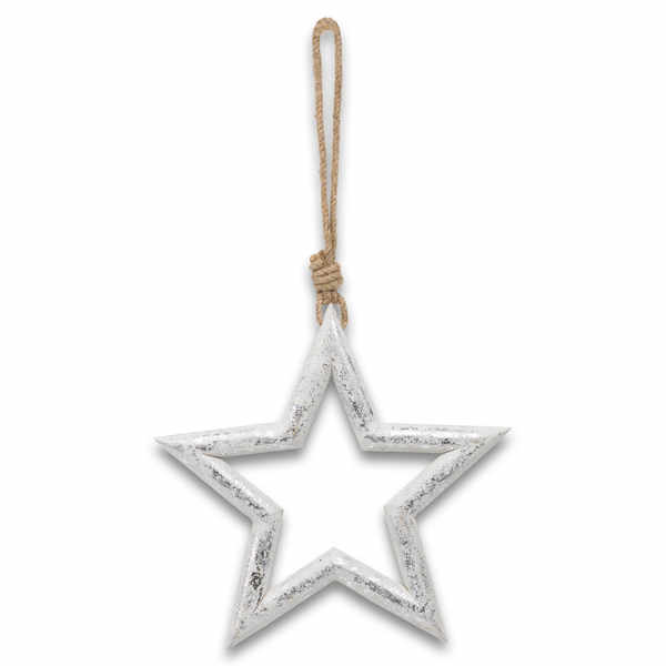 Large Silver Wooden Star Hanging Decoration - Cosy Home Interiors