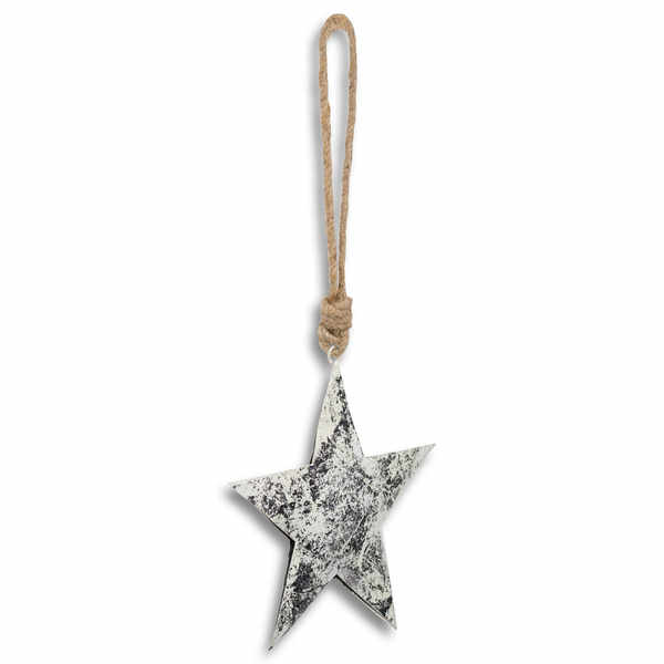 Silver Metallic Rope Hanging Star Decoration - Cosy Home Interiors