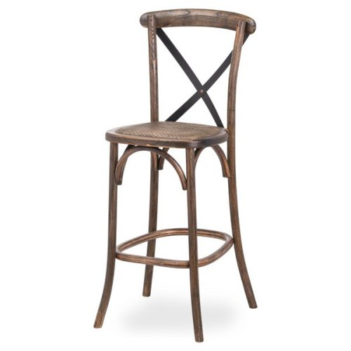 Oak Cross Back Bar Stool - Cosy Home Interiors