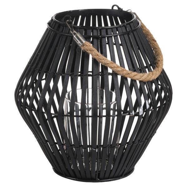 Black Rattan Large Convex Lantern - Cosy Home Interiors