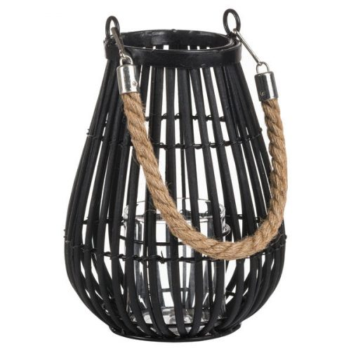 Large Domed Rattan Lantern With Rope Detail - Cosy Home Interiors