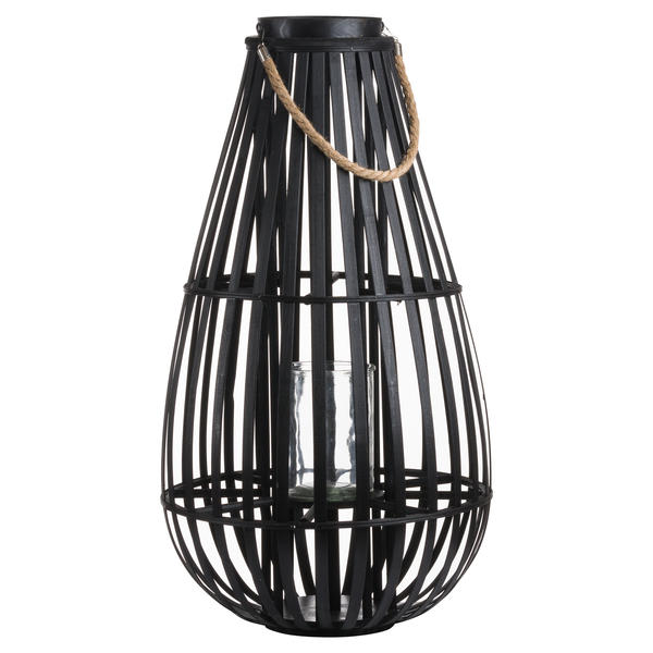 Large Floor Standing Domed Wicker Lantern With Rope Detail - Cosy Home Interiors