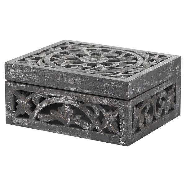 Lustro Carved Antique Metallic Wooden Box - Cosy Home Interiors