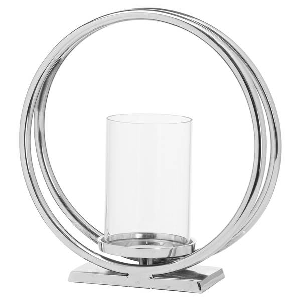 Ohlson Silver Twin loop Candle Holder - Cosy Home Interiors
