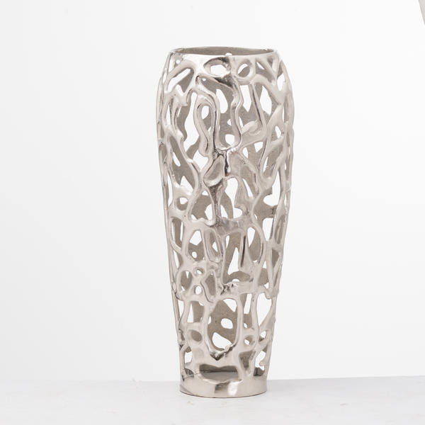 Ohlson Silver Perforated Coral Inspired Vase - Cosy Home Interiors