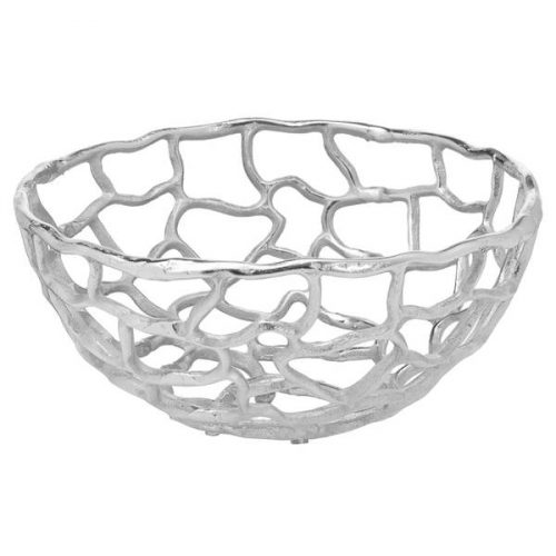 Ohlson Silver Perforated Coral Inspired Bowl Small - Cosy Home Interiors