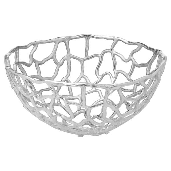Ohlson Silver Perforated Coral inspired Bowl Large - Cosy Home Interiors