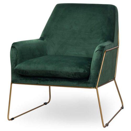 Kariss Framed Emerald Green Velvet Club Chair - Cosy Home Interiors