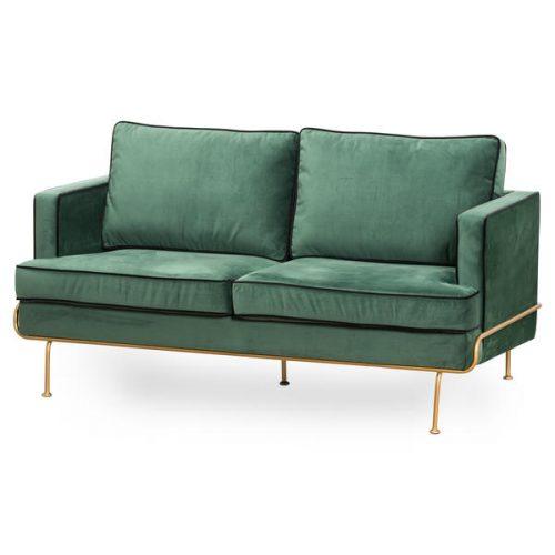 Arden Emerald Green Velvet 2 Seater Sofa - Cosy Home Interiors