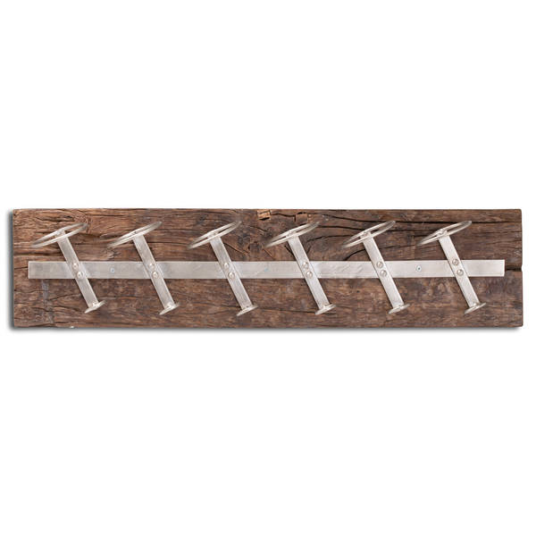 Wall Mounted Reclaimed Timber 6 Bottle Wine Rack - Cosy Home Interiors