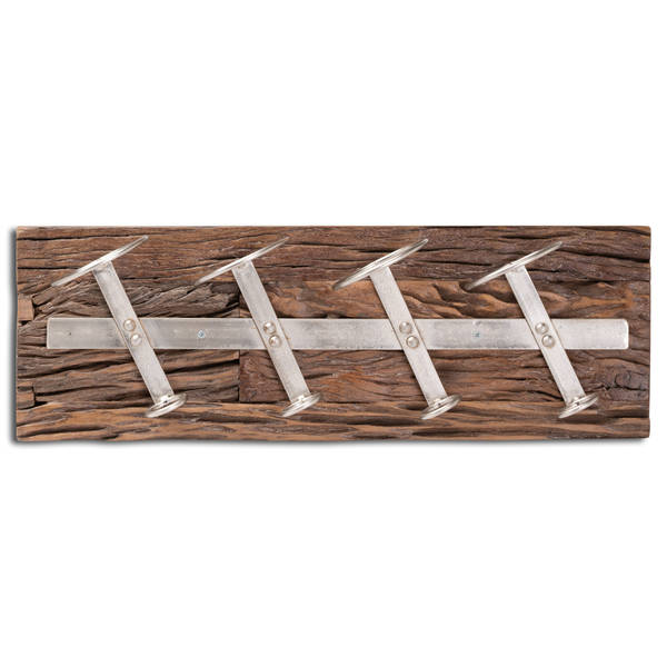 Wall Mounted Reclaimed Timber 4 Bottle Wine Rack - Cosy Home Interiors
