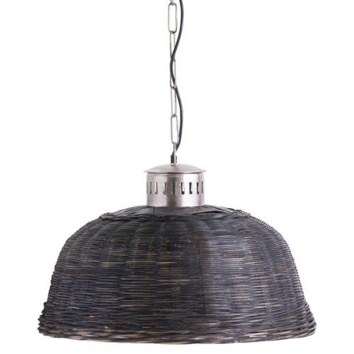 Large Black Orla Wicker Pendant Light - Cosy Home Interiors