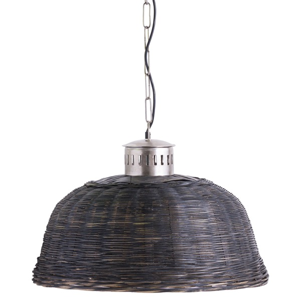 Large Black Orla Wicker Pendant Light - Cosy Home Interiors