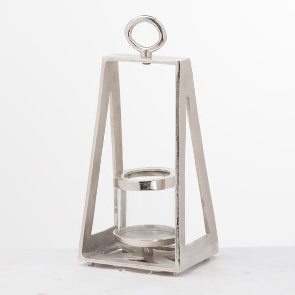 Ohlson Silver Pyramid Tea Light lantern - Cosy Home Interiors