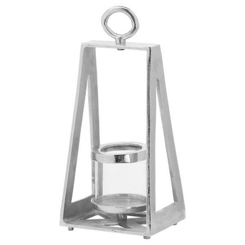 Ohlson Silver Pyramid Tea Light lantern - Cosy Home Interiors