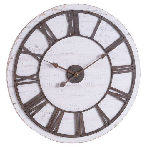 Rustic Wooden Clock With Aged Numerals And Hands - Cosy Home Interiors