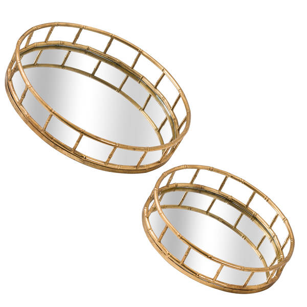 Set Of 2 Detailed Circular Trays - Cosy Home Interiors