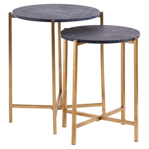 Set Of 2 Gold And Black Marble Tables - Cosy Home Interiors