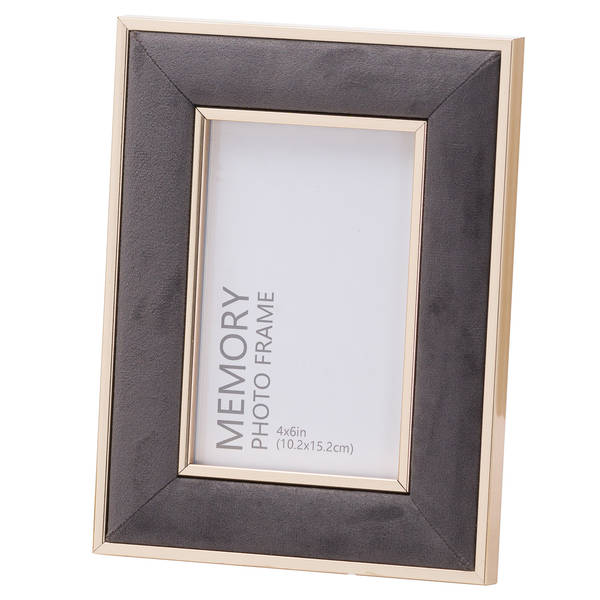 Grey Velvet With Gold 4X6 Frame - Cosy Home Interiors