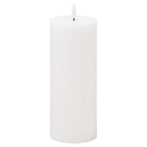Luxe Collection Natural Glow 3x8 Textured Ribbed LED Candle - Cosy Home Interiors