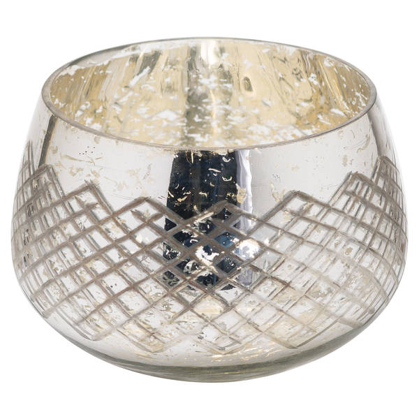 The Noel Collection Large Mercury Patterned Candle Holder - Cosy Home Interiors