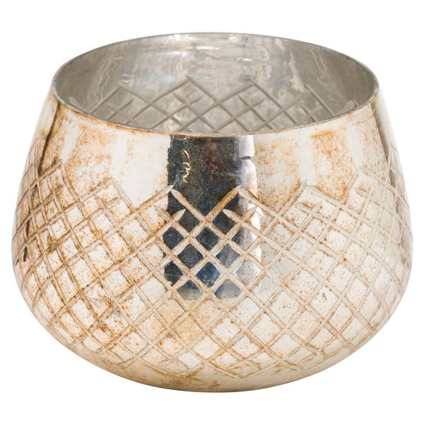 The Noel Collection Large Burnished Patterned Candle Holder - Cosy Home Interiors