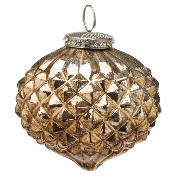 The Noel Collection Burnished Textured Large Hanging Bauble - Cosy Home Interiors